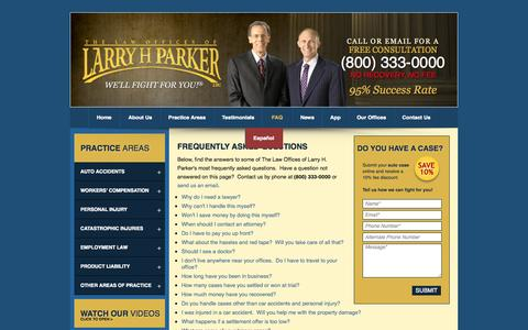 Screenshot of FAQ Page larryhparker.com - FAQs: Frequently Asked Legal Questions in Los Angeles and Phoenix about Accident and Injury Law: The Law Offices of Larry H. Parker - captured Sept. 18, 2014