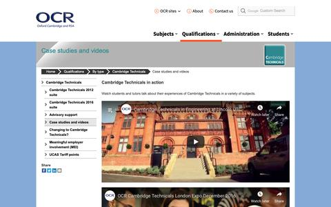 Screenshot of Case Studies Page ocr.org.uk - Cambridge Technicals case studies - OCR - captured Oct. 22, 2018