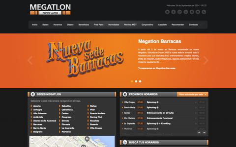 Screenshot of Home Page megatlon.com - MEGATLON | Red de Clubes - captured Sept. 24, 2014