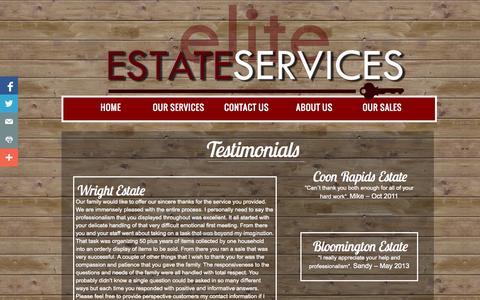 Screenshot of Testimonials Page eliteestateservices.org - Testimonials - captured Sept. 29, 2014
