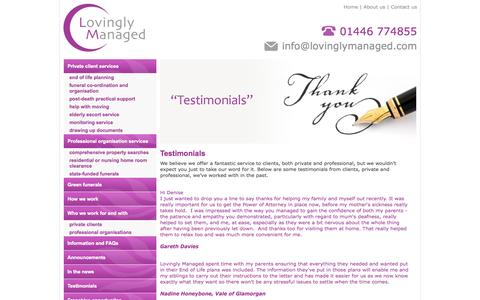 Screenshot of Testimonials Page lovinglymanaged.com - Testimonials for Lovingly Managed - captured Sept. 30, 2014
