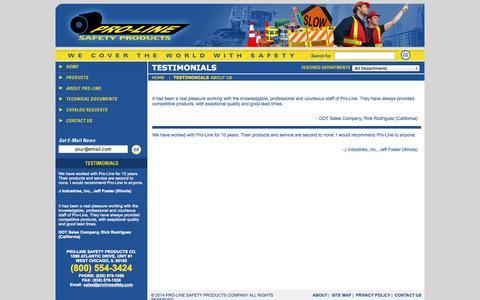 Screenshot of Testimonials Page prolinesafety.com - Testimonials   About Pro-Line   Pro-Line Safety Products - captured Oct. 3, 2014