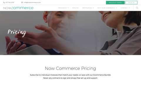 Screenshot of Pricing Page nowcommerce.com - Now Commerce Pricing - Save with our Ecommerce Bundle - captured Jan. 11, 2016