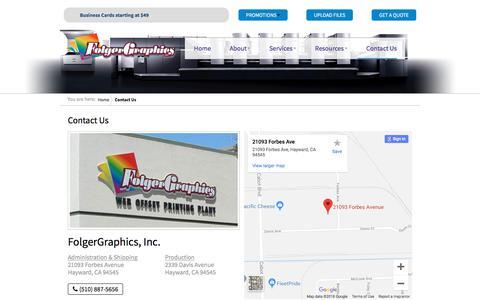 Screenshot of Contact Page folgergraphics.com - Contact Us - FolgerGraphics - captured Aug. 19, 2018
