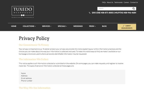 Privacy Policy - Milpitas & San Jose | Tuxedo Wearhouse