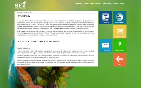 Screenshot of Privacy Page seisystem.it - Privacy Policy - captured Sept. 30, 2014