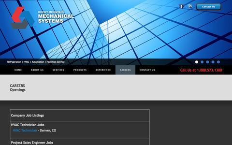 Screenshot of Jobs Page rockymech.com - Openings | Rocky Mountain Mechanical - captured Oct. 6, 2014