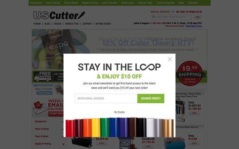 Screenshot of Home Page uscutter.com - USCutter - Vinyl Cutters, Heat Transfer, Flat Beds, Craft, Vinyl Supplies, Tools - captured Oct. 2, 2018