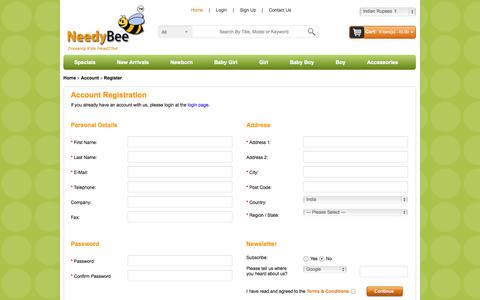 Screenshot of Signup Page needybee.com - Sign Up | NeedyBee|About You| Facebook| Login| Information - captured Oct. 7, 2014