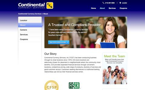 Screenshot of About Page ccurr.com - About | Continental Currency Services - captured Oct. 3, 2014