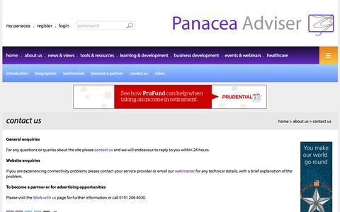 Screenshot of Contact Page panaceaadviser.com - Contact Panacea Adviser - captured July 10, 2016