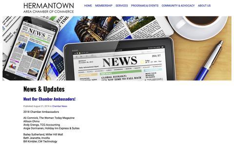 Screenshot of Press Page hermantownchamber.com - News - Hermantown Area Chamber of Commerce - captured Sept. 28, 2018