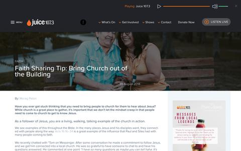 Screenshot of Team Page juice1073.com.au - Faith Sharing Tip: Bring Church out of the Building - captured Nov. 14, 2018