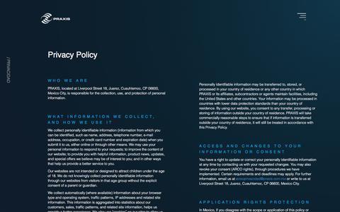 Screenshot of Privacy Page praxisglobe.com - Privacidad PRAXIS Desarrollo de software y consultoria TI - captured Sept. 25, 2018