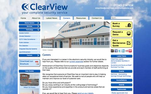 Screenshot of Jobs Page clearview-communications.com - Careers at Clearview Communications - captured Sept. 30, 2014