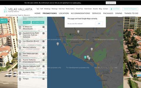 Screenshot of Maps & Directions Page velasvallarta.com - Puerto Vallarta Resort Map - captured Sept. 23, 2018