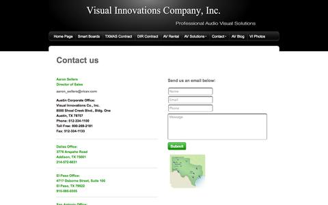 Screenshot of Contact Page vicav.com - Audio Visual Installation of Crestron, AMX, Projectors, Smartboards & Flat Screens - Contact - captured Oct. 26, 2014