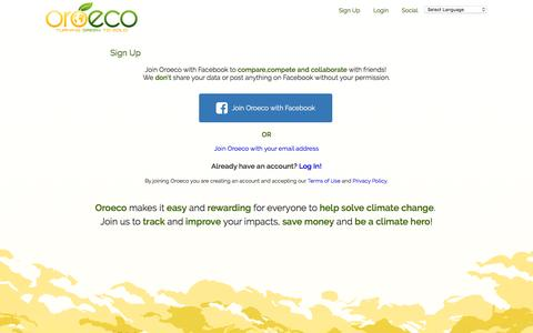 Screenshot of Signup Page oroeco.com - Oroeco | Sign Up - captured July 4, 2016