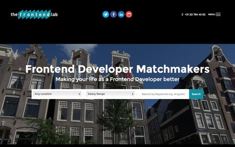 Screenshot of Home Page thefrontendlab.com - Frontend Developer Vacatures - Frontend Developer Career Service - captured Aug. 16, 2016