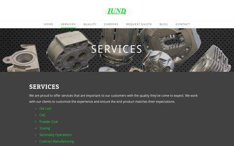 Screenshot of Services Page lund-diecast.com - Lund Manufacturing Services - Lund Manufacturing - captured Sept. 30, 2018