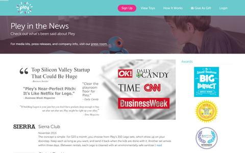 Screenshot of Press Page pley.com - In the News - Pley | Rent the coolest toys including LEGO®, American Girl and other amazing toys - captured Feb. 24, 2016