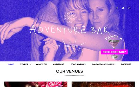 Screenshot of Home Page adventurebar.co.uk - Adventure Bars in Covent Garden and Clapham - Cocktails and Food - captured July 13, 2018