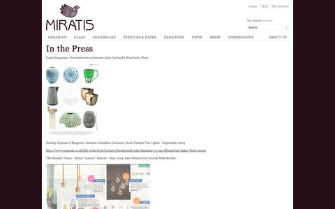 Screenshot of Press Page miratis.com - In the Press | Miratis - captured Oct. 26, 2014