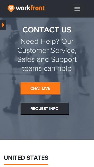 Screenshot of Contact Page  workfront.com - Contact Us - Workfront (formerly AtTask)