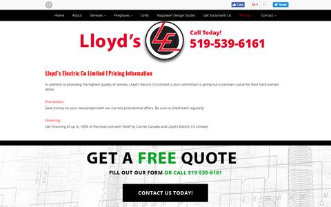 Screenshot of Pricing Page lloydselectric.ca - HVAC Woodstock | Pricing | Lloyd's Electric Co Limited - captured Nov. 12, 2016
