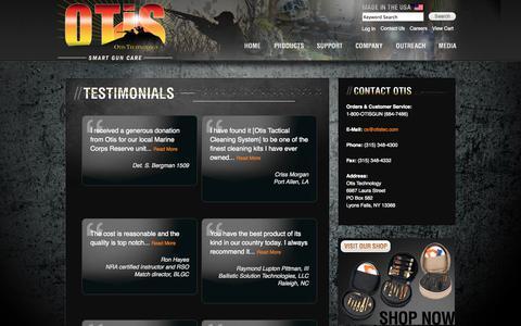 Screenshot of Testimonials Page otistec.com - Otis Technology Testimonials - captured Oct. 7, 2014