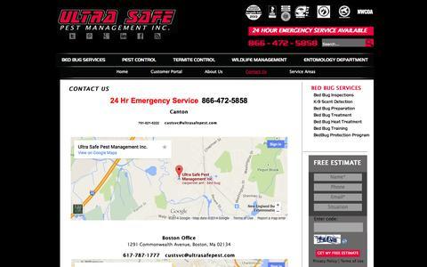 Screenshot of Contact Page ultrasafepest.com - Contact Us - Ultra Safe Pest Management - captured Oct. 9, 2014