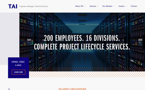 Screenshot of Home Page taiengineering.com - TAI Engineering - Engineers, Managers, Technical Services - captured Sept. 21, 2018
