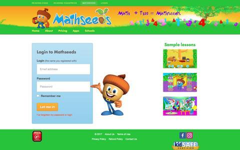 Screenshot of Login Page mathseeds.com - Login - Mathseeds - captured March 12, 2017