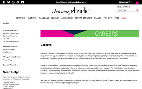 Screenshot of Jobs Page charmingcharlie.com - Careers | Charming Charlie - captured Sept. 19, 2018