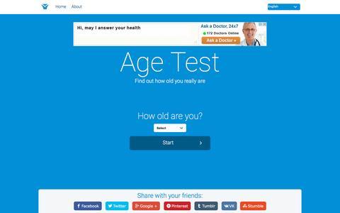 Screenshot of Home Page age-test.com - Age Test - captured Nov. 21, 2015