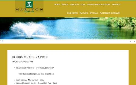 Screenshot of Hours Page marltongolf.com - HOURS OF OPERATION - captured June 22, 2016