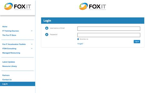 Screenshot of Login Page foxit.com - Fox IT Login – Fox IT - captured Feb. 13, 2020