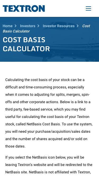 Textron Inc - Investors - Investor Resources - Cost Basis Calculator