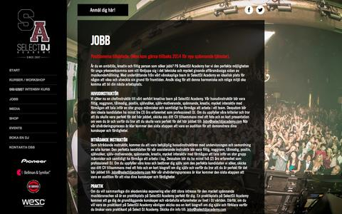 Screenshot of Jobs Page selectdjacademy.com - SelectDJ - captured Sept. 30, 2014
