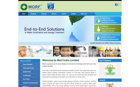 Screenshot of Home Page morfindia.com - RO Water Purification System, Sewage Treatment Chennai - Morf India - captured Oct. 8, 2014