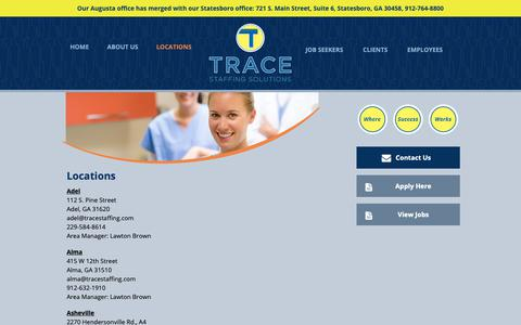 Screenshot of Contact Page Locations Page tracestaffing.com - Workforce recruitment firm | Trace Staffing - Georgia, Carolinas, Florida - captured May 29, 2019