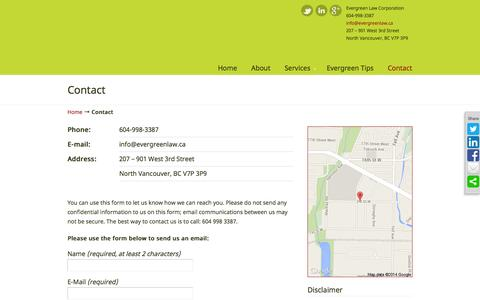 Screenshot of Contact Page evergreenlaw.ca - Contact - Evergreen Law - captured Oct. 3, 2014