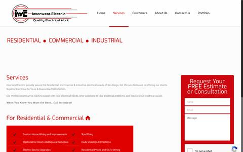 Screenshot of Services Page interwestelectric.com - Electrical Services San Diego | Interwest Electric - Electrical Contractor - captured Sept. 19, 2018