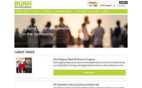 Screenshot of Press Page ruah.com.au - News - Ruah - captured Feb. 15, 2016