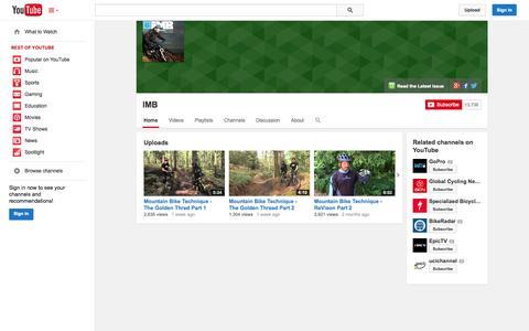 Screenshot of YouTube Page youtube.com - IMB  - YouTube - captured Nov. 1, 2014