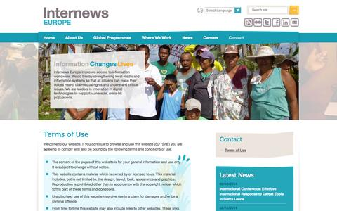 Screenshot of Terms Page internews.eu - Internews Europe - Terms of Use - captured Oct. 6, 2014