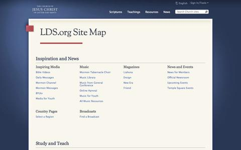 Screenshot of Site Map Page lds.org captured Sept. 19, 2014