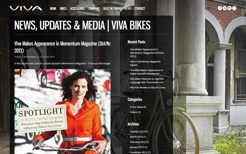 Screenshot of Press Page vivabikes.com - News, Updates & Media | Viva Bikes - captured Jan. 24, 2016