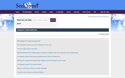 Screenshot of FAQ Page seekye.net - SeekYe.Net's Directory of Businesses and Ministries for Christians - captured Oct. 7, 2014