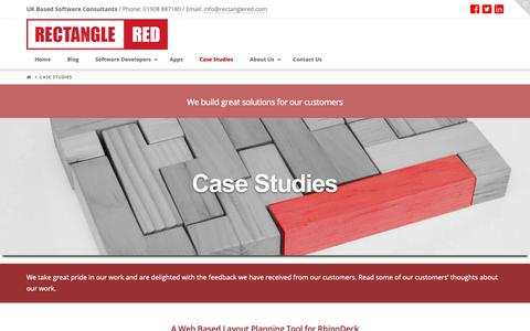 Screenshot of Case Studies Page rectanglered.com - Case Studies - Rectangle Red, Milton Keynes - captured Oct. 20, 2018